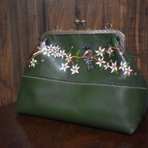 کیف دستی چرم زنانه نقاشی شده سبز