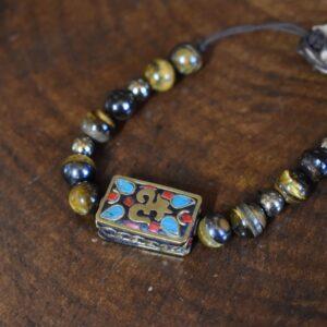 دستبند پلاک تبتی مهره ایی