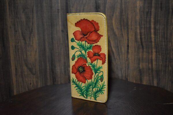 کیف پول چرم زنانه نقاشی شده